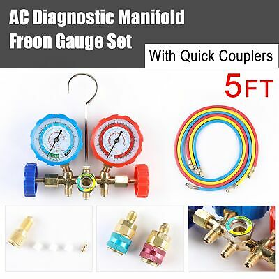 HVAC R134A R12 R22 R502 Diagnostic Brass Manifold Gauge ACME Adapter