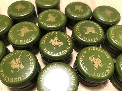 30 Lot HOME WINE Bottle Caps Lid Screw Aluminum Tops Green Crafts Camelot Winery