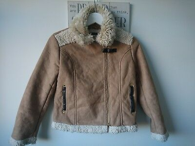 River Island girl faux fur furry jacket 12 years great condition