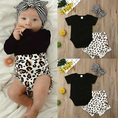 Newborn Baby Girls Leopard Clothes Tops Romper Short Pant Summer Autumn Outfit F