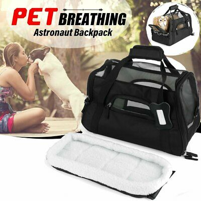 Travel Portable Approved Pet Carrier Soft Sided Large Cat Dog Comfort Black Bag