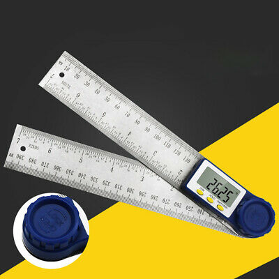 2 In 1 Protractor Meter Digital LCD Stainless Steel Battery Powered Angle Ruler