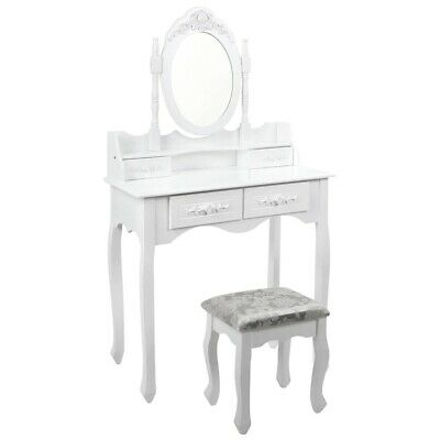 4-Drawer Elegant Dressing Table Jewelry Makeup Mirror with Padded Stool White