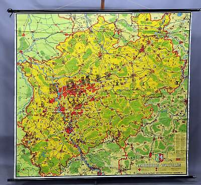 vintage map rollable wall chart North Rhine-Westphalia picture poster