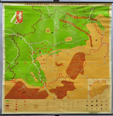 vintage poster teaching map rollable wall chart Nordrhein-Westfalen Germany
