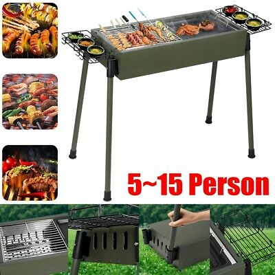 Large Portable Folding Charcoal BBQ Grill Stainless Steel Camp Picnic Cooker