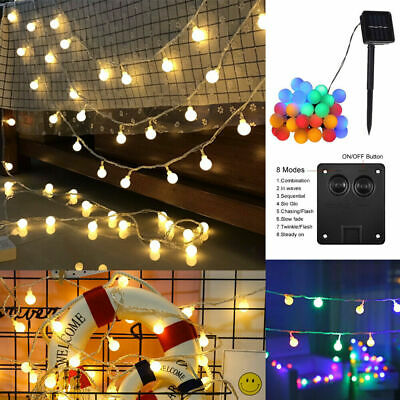 50 LED Solar Powered Garden Party Fairy String Crystal Ball Lights Outdoor