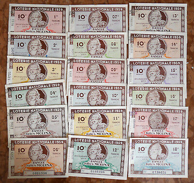 LOTERIE NATIONALE # LOT de 18 BILLETS  BANQUE JULES MOLINA 1939 TRANCHE 1 à 18