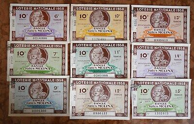 LOTERIE NATIONALE # LOT de 9 BILLETS DIFFERENTS  BANQUE JULES MOLINA 1938