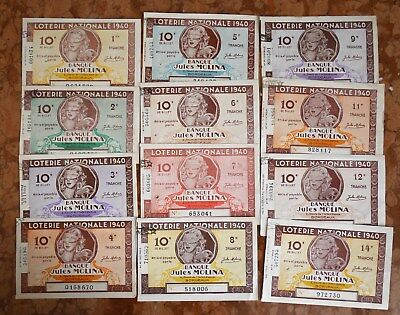 LOTERIE NATIONALE # LOT de 12 BILLETS DIFFERENTS  BANQUE JULES MOLINA 1940