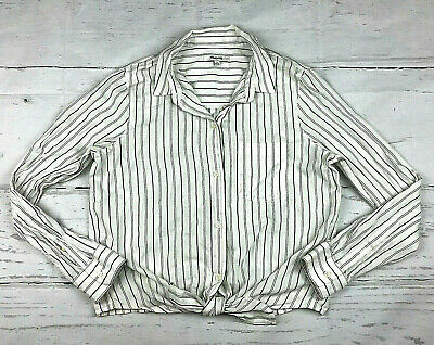c4c88c166c Madewell Tie-Front Darcy stripe women M white gray long sleeve button down  shirt