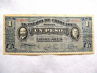 """1915 Bank Of Mexico """"State Of Chihuahua"""" One (1) Peso Note"""
