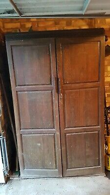 Wardrobe Vintage Over 100 years old Solid wood Shelves & rail Greek key design