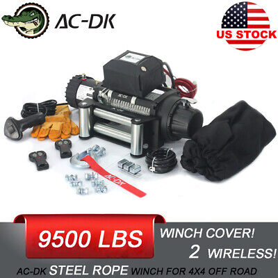 AC-DK 12V Electric Winch 9500lbs Waterproof IP67 With Steel Rope and Winch Cover