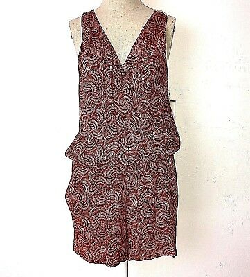 Hinge womens S red brown rust henna ferns vneck faux wrap sleeveless romper NWT
