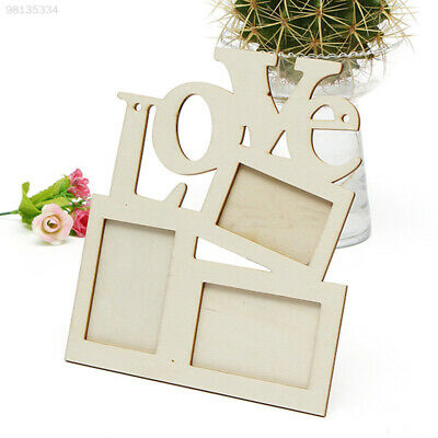 D73B New Hollow Love Wooden Photo Picture Frame Rahmen White Base DIY Home Decor