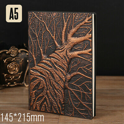 Handmade Vintage 3D Embossed Tree Travel Diary Notebook Journal Leather Notepad