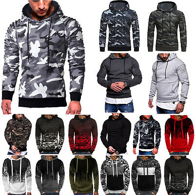 Mens Camouflage Hoodie Sweatshirt Hooded Tops Pullover Jumper Sweater Outerwear