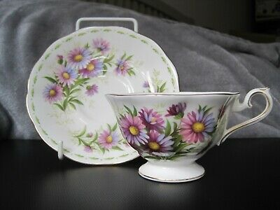 Royal Albert Rare Footed Cup And Saucer September Flowers Of The Month