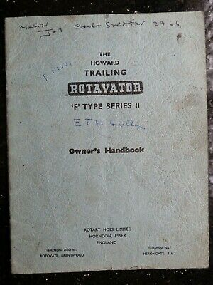 Howard Trailing Rotavator F Type Ser. Ii Owners Handbook Farm Tractor Implement