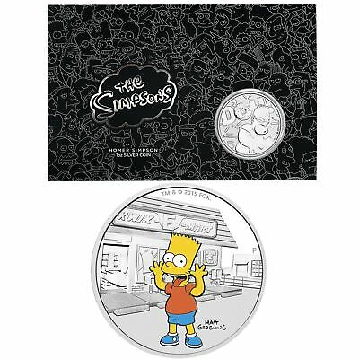 2019 The Simpsons - Bart & Homer 2 Silver Coin Set - 1oz & 1oz in Black Card