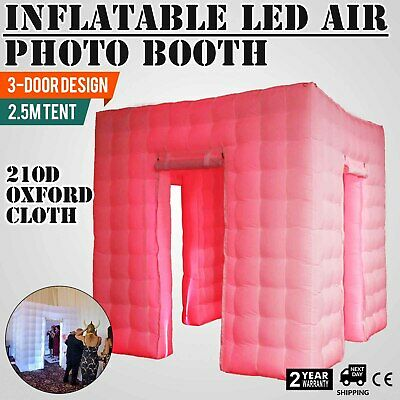 3 Doors Inflatable LED Air Pump Photo Booth Tent Colorful Events 7 Colors