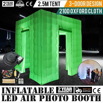 3 Doors Inflatable LED Air Pump Photo Booth Tent Portable 2.5M Oxford Fabric