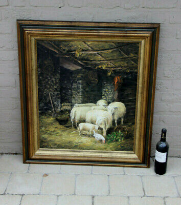 Flemish Animal sheep chicken farm scene oil canvas painting 70s signed