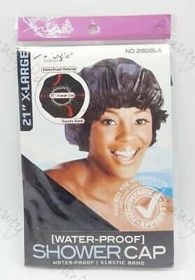 "Magic Collection  BLACK 21"" Extra Large Water-Proof SHOWER CAP No 2160BLA"