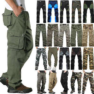 UK Mens Tactical Army Combat Military Cargo Multi Pocket Casual Pants Trousers