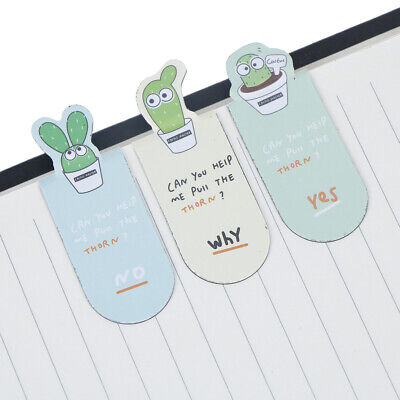 3pcs/Set Cute cactus magnetic bookmarks books marker stationery office suppYF