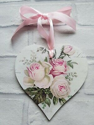 Shabby Chic Amore Pink Roses Large Heart 12cm