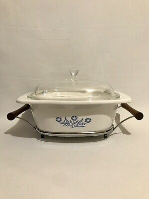 Corning Ware P-34-B Blue Cornflower 4Qt Dutch Oven with Lid and Original Rack
