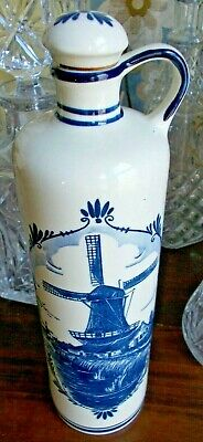 Delft Blue Decanter Jug With Cork Stopper Windmill Blue White Made In Holland Art Pottery