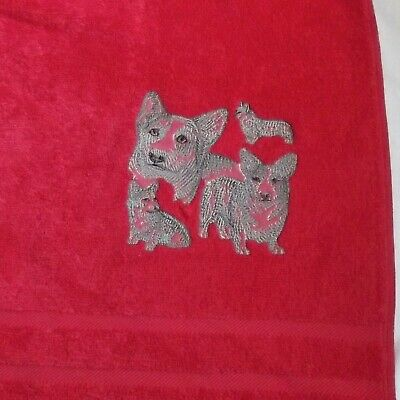 Corgi Dog Embroidered Bath Towel, New Home Gift, Embroidered Towel