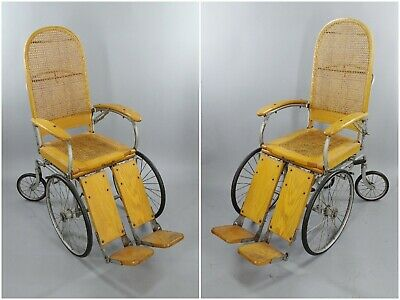 1930s - 1940s Vintage Wooden and Steel Antique Wheelchair FDR Style Cane Seat