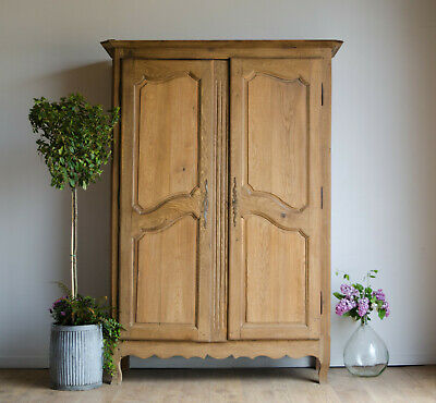 French Antique Late 18C Oak Knockdown Double Wardrobe Armoire with Hanging Rail