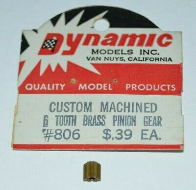 Dynamic 6 Tooth Brass Pinion Gear 6T Custom Machined for .078 shaft motor NOS