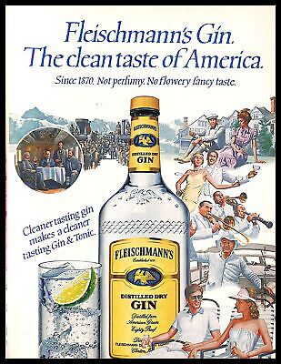 1984 Fleischmanns Gin And Tonic Alcohol Vintage PRINT AD America Illustration