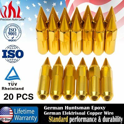 Gold 20Pcs Cap Spiked Extended Lug Nuts Tuner Aluminum M12X1.5 Wheels Rims 60Mm