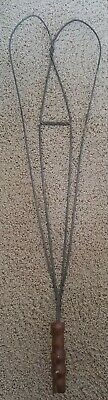 Vintage 1920's Primitive Heart Shaped Twisted Wire Rug Beater with Wood Handle