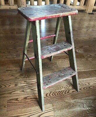 Antique Vintage Primitive Wood Metal 3-Step Folding Stool Ladder