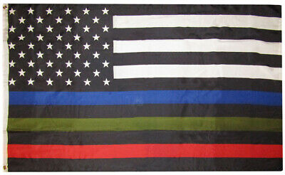 Thin Red Blue Green Line American Flag 3x5 ft Police Fire Park Rangers Forest BW