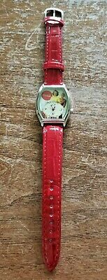 """Coca Cola Wrist Watch Red Leather Strap Vintage Graphic Watch Face 9 1/2"""" L"""