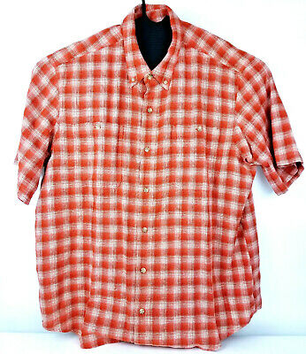 a4a6f2c7 Mens Duluth Trading Co Orange Button Down Short Sleeve Plaid Shirt Size XL  EUC