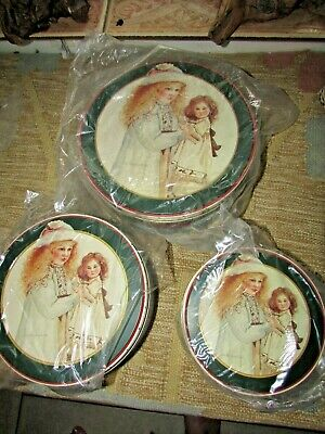 Charming Set Of 3 Matching Tins Victorian Girl With Antique Bisque Doll