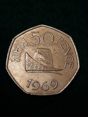 1969 DUCAL CAP. Guernsey. Large Old 50p. Fifty pence. Circulated. Sought After