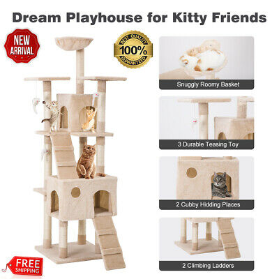 "68"" Cat Tree Bed Furniture Scratching Tower Post Condo Kitten Pet House Hammock"