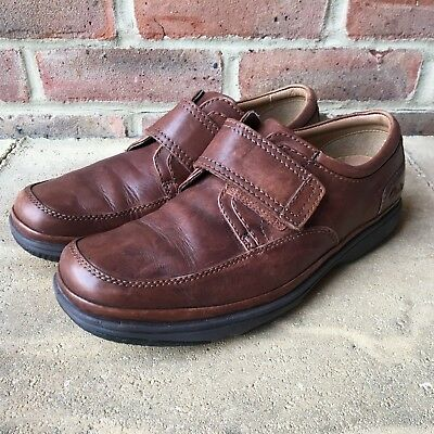 051ec823 CLARKS BROWN LEATHER Flexlight Shoes Mens Size UK 8.5 Extra Wide Fit