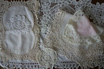 Job Lot Bundle Vintage Battenburg Batten Lace Tray Cloth Napkins Doilies Wedding
